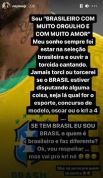 """""""Neymar"""" upset post on IG stories"""